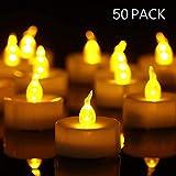 YHY Lot de 50 bougies LED Bougies CR2032 piles Bougies Unscented Bougie chauffe-plat sans flamme claire vacillante 100 + heures de lumière électrique
