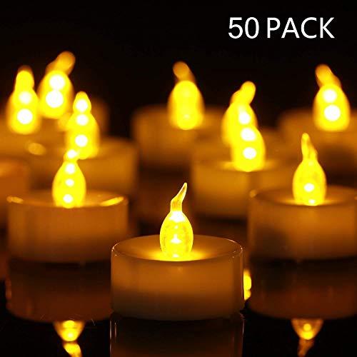 YHY LED Kerzen, 50 LED Flammenlose Kerzen, Weihnachten LED Teelichter, Elektrische Teelichter Kerzen für Halloween, Weihnachten, Party, Bar, Hochzeit (Flicker Gelb)
