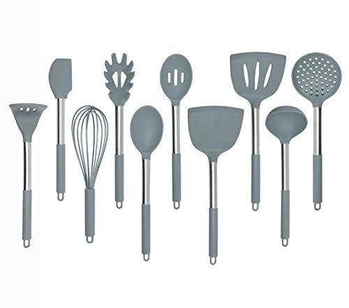 eujiancai Kitchen Silicone Utensil Set Nylon Core and Stainless Steel Handle for Non Stick Cookware Baking Cooking Utensil Tools Set of 10 Grey Spoon Turner Skimmer Whisk Spatula Satin Steel Spoon