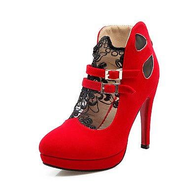 Talloni delle donne Primavera Estate Autunno Altro PU casual tacco a spillo in pizzo cuciture Nero Rosso Red