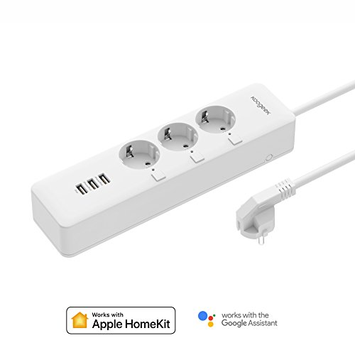 Koogeek Smart Outlet Surge Protector Control individual Compatible con Alexa Apple HomeKit y Google Assistant Control remoto por voz 3 Puertos de carga USB Cable de 5 pies EU Plug White