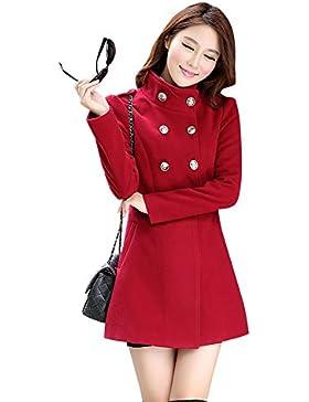LaoZan Invierno Trench Coat Abrigo largo Slim Fit Outwear Abrigo Chaqueta - para mujer XS rojo