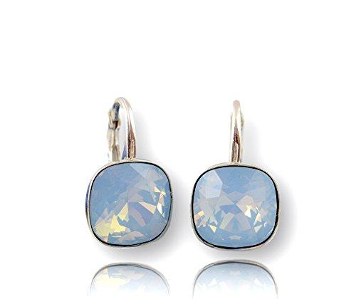 Crystals & Stones *Viele Farben* Silber 925 *SQUARE* - Ohrringe mit Kristallen von Swarovski® - Schön Ohrringe Damen Ohrhänger - Wunderbare Ohrringe mit Schmuckbox (Air Blue Opal) -