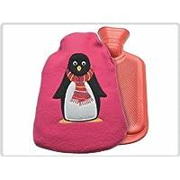 Preisvergleich für Kinderwärmflasche Wärmflasche. ca 0,7 Liter mit Flauschbezug, Rot mit Pinguin-Motiv