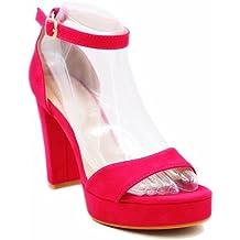 Elobaby Damenschuhe Hochzeit Spring Satin/Sommer Basic Pump Strass Fuchsia Buckle/Elfenbein  85 cm Heels