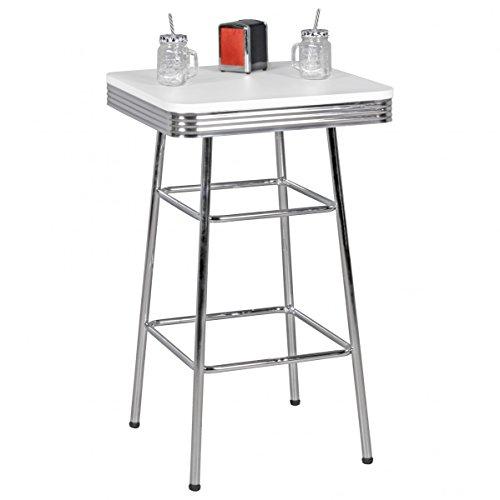 Bar Table carrée 60x60cm Elvis American Diner MDF Table de Bar en Bois Aluminium Table Party Design Table bistrot rétro USA