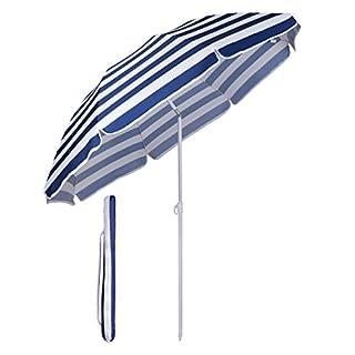 Sekey Parasol de Jardin Diamètre 160 cm - Parasol de terrasse - Rayures Bleues et Blanches - Protection Solaire UV20+