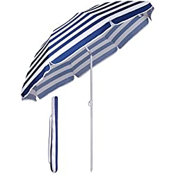 Sekey® Parasol Ø 160 cm inclinable pour Patio Jardin Balcon Piscine Plage Rayures Blanches Bleues Rond Sunscreen UV20+