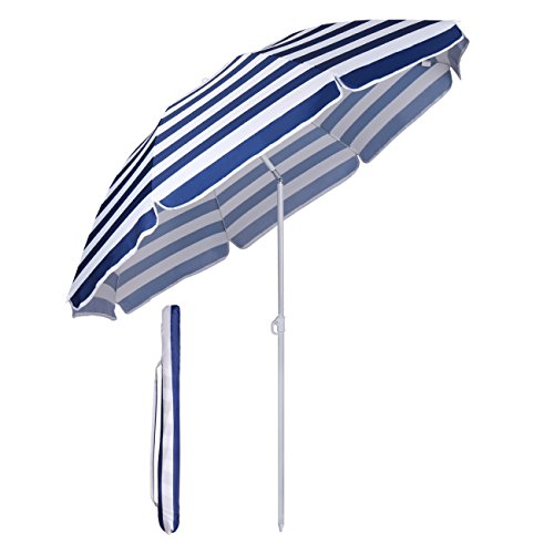 Sekey Parasol Ø 160 cm inclinable pour Patio Jardin Balcon Piscine Plage Rayures Blanches Bleues Rond Sunscreen UV20+