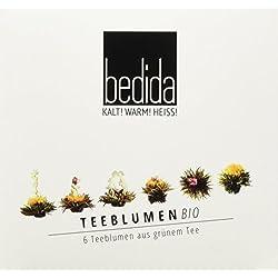 Feelino Bedida Edle 6er-Box BIO Weißtee-Teeblumen in toller Probier- und Geschenkbox mit 6 verschiedenen Silbernadel Weißtee-Teerosen, einzeln verpackt für max. Frische