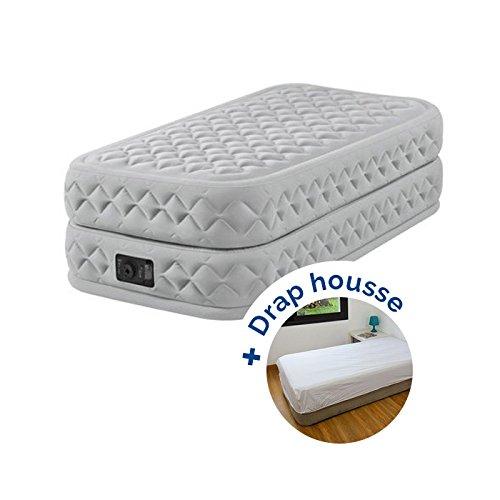 RAVIDAY Pack Matelas Gonflable électrique Intex Supreme Bed Fiber-Tech 191 x 99 x 51 cm + Drap Housse