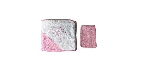 Parure de bain pour b/éb/é blanc et rose Je suis une petite princesse