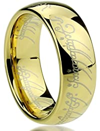 """Little Treasures 8MM Titanium Comfort Fit """"Lord of thr Rings"""" Wedding Band Ring Inside Outside Laser Etched Old Letter Pattern Gold Plated Band Ring"""