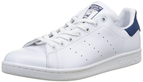 Adidas Stan Smith, Baskets Basses Homme, Blanc Footwear White/Mystery Blue, 42 EU