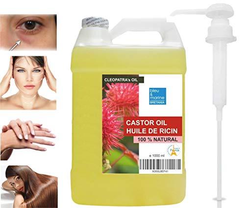 Huile de Ricin 100% Naturelle 1000 ml L'Huile de Beauté de Cléopâtre - Cils Cheveux Ongles Anti Cernes Démaquillant Yeux & Visage Hydratant Corps - Avec Pompe dosatrice