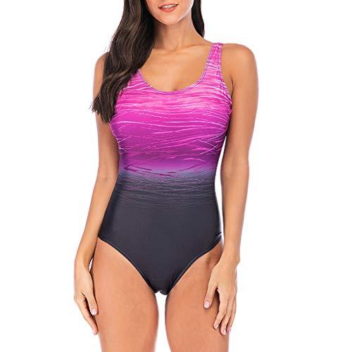 Overdose Farbverlauf Farbe Damen Übergröße Bikinis Tankini Einteiliger Badeanzug Beachwear gepolsterte Bademode Frauen Plus Size Beachwear Badeanzüge(Violett,XXL)