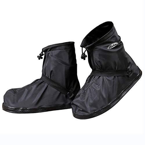 JIANKE Regenüberschuhe Fahrrad Wasserdicht Überschuhe Regen Schuhüberzieher Mehrweg rutschfest Motorrad Regenschutz Schuhe(Schwarz-392,3XL)