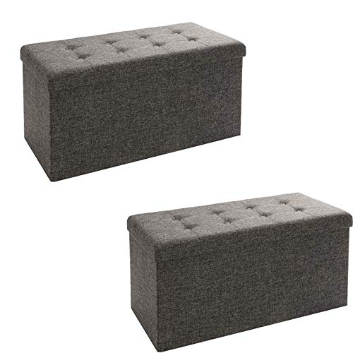 Seville Classics Foldable Storage Bench/Footrest/Coffee Table Ottoman (Set of 2), Charcoal Gray (Black Light Table Cloth)