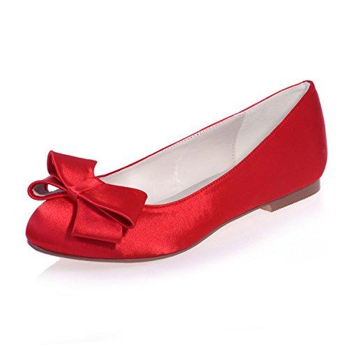 Chalmart Ballerines Femme à Bout Fermée Chaussure Plate Mariage Mode Avec Nœud Rouge