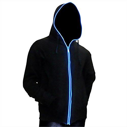 Ucult LED-Hoodie blau Zip-Hoodie Kapuzenjacke Zipper (L)