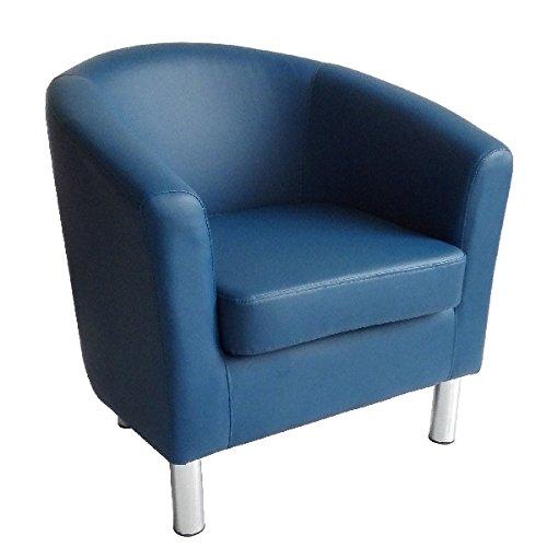 Stilvolle Home-office-möbel (Designer Leder Tub Stuhl Sessel für Esszimmer Wohnzimmer Büro Empfang 66 x 68 x 72 cm königsblau)