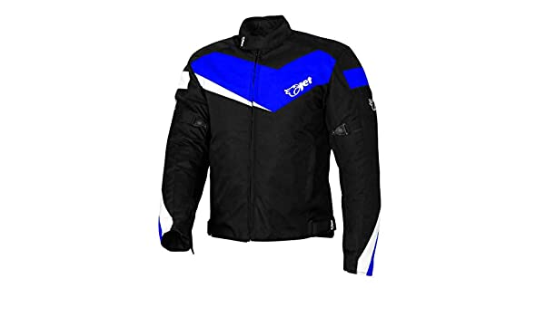 JET Motorcycle Motorbike Jacket Scooter Moped Commuter Urban Rider Protective Jacket Textile Armoured ECONOTECH 46-48 Blue, 3XL