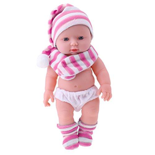 D DOLITY 30cm Lebensecht Silikon Babypuppe Vinyl Baby Mädchen Puppe für Kinder Rollespielzeug oder Training Requisiten - Rosa