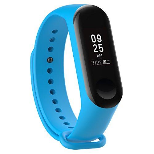 XIHAMA - Correa de Silicona Suave de Repuesto para Reloj Deportivo Inteligente Xiaomi Mi Band 3 (Azul Claro)