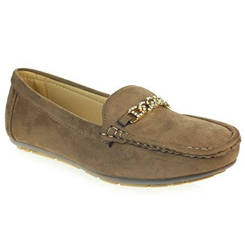 Frau Damen Geschlossene Zehe Mokassins Komfort Jeden Tag Büro Arbeit Beiläufig Schlüpfen Flache Khaki Schuhe Größe 38 (Entspannt Fit Khaki)