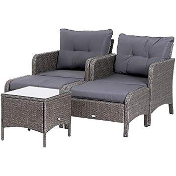 marrone mista   no. 401975 disponibile in diversi colori TecTake Poltrona seduta sedia da giardino in alluminio e polyrattan rattan con cuscino sedile e cuscini posteriori