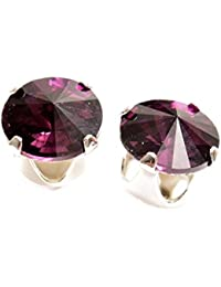 pewterhooter 925 Sterling Silver stud earrings expertly made with Amethyst crystal from SWAROVSKI® for Women