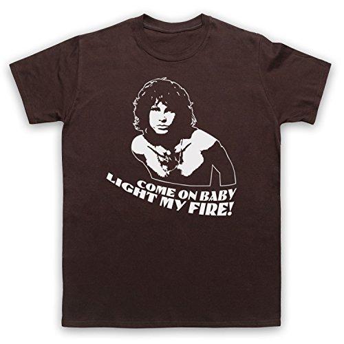 Inspiriert durch Doors Jim Morrison Light My Fire Inoffiziell Herren T-Shirt Braun