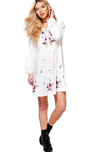 Damen Weiß Lottie Hängerchenkleid Mit Stickerei Weiß
