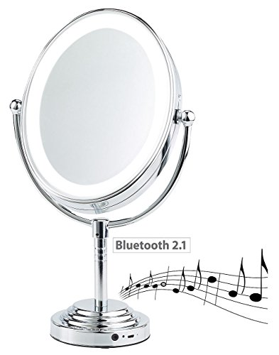 Sichler Beauty Audio-Kosmetikspiegel: XL-LED-Kosmetikspiegel, Akku, Bluetooth-Lautsprecher, 1x / 5X...