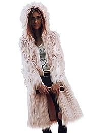 4f92c0bae920 Vlunt Femmes Longue Manteau à Capuche de Fausse Fourrure Renard Doux  Imitation Fourrure Cardigan Décontractée Fourrure
