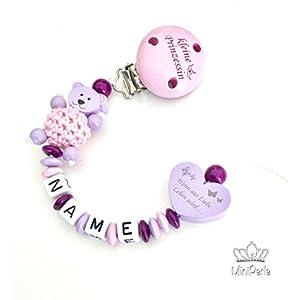 Schnullerkette mit Namen - Kleine Prinzessin - Wenn aus Liebe Leben wird - Bär - Häkelperle - Mädchen - rosa - flieder - lila - A015