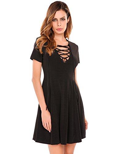 Meaneor Damen Tiefer V Ausschnitt Sommer Minikleid Kurzarm A Linie Kleid mit Schnürung Schwarz