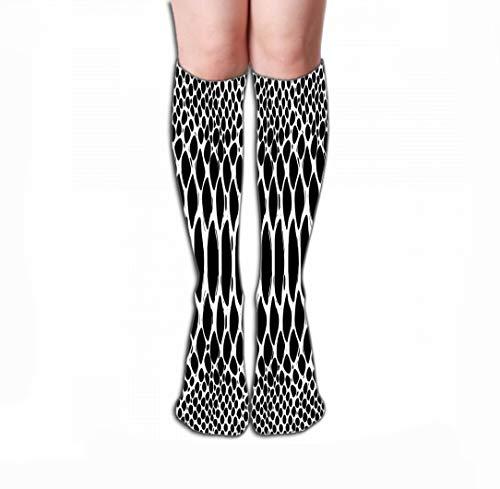 Xunulyn Hohe Socken Men Women Outdoor Sports High Socks Stocking Snake Skin Pattern Texture Repeating Monochrome Black White Texture Snake Print STYL Tile Length 19.7