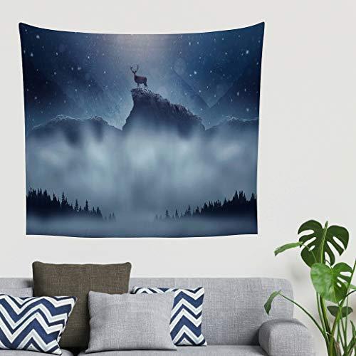 NC83 Snowfall Theme Tapisserie exklusiv Türvorhang - Deer Muster für Schlafzimmer