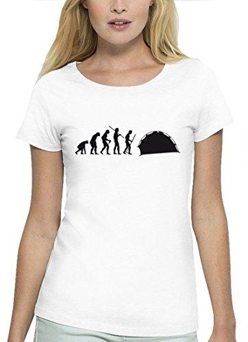 Campen Premium Damen T-Shirt aus Bio Baumwolle EVOLUTION ZELTEN Marke Stanley Stella White