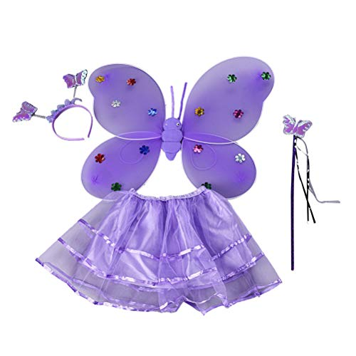 Toyvian Mädchen Mesh Butterfly Dress Set Fairy Princess Dress Kostüm Set Tutu (Butterfly Princess Mädchen Kostüm)