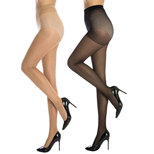 MANZI Damen Kniestrümpfe Gr. Large, Mehrfarbig - black and light skin (Strumpfhose Spanx-control Top)