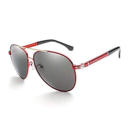 RFVBNM Sonnenbrille Outdoor-Mode polarisierte Persönlichkeit UV Männer und Frauen Sport Sonnenbrille Aviator Metall Sonnenbrille Driving Lens, roten Rahmen graue Linse
