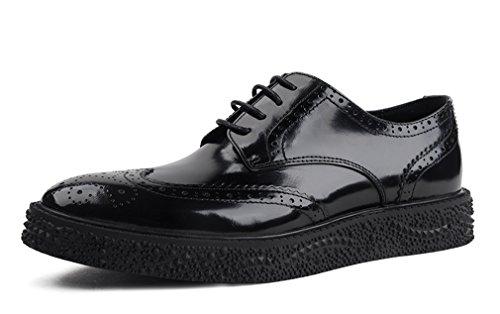 Dilize Einzigartige Dicke Sohle Herren Halbschuhe Oxford Schuhe in Leder, Schwarz - schwarz - Größe: 42 EU (Schwarz Athletic Schuhe Arbeiten)