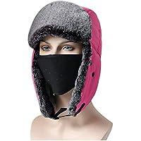 KOMEISHO Sombrero de esquí con máscara Facial Color Puro, cálido y Grueso A Prueba de