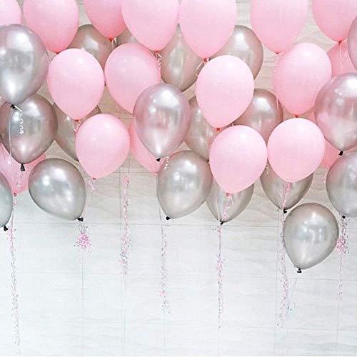 Partyballon (50 Stücke), Hochzeit Luftballons Silber und leicht rosa Luftballons für Party Zur Dekoration Geburtstagsfeier Dekoration 12 inch Ballons