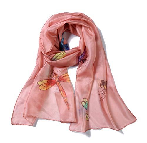 Invisible World Foulard Seta da Donna 100% Lunga Dipinta Mano con Libellula per Collo Testa o Capelli Mauve