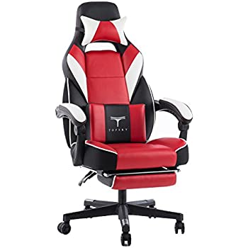 AmazonBasics Gaming Office Chair, Racing Design, Red: Amazon