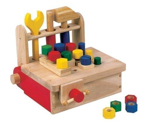 Werkbank aus Holz / tragbare Tisch-Werkbank für Kinder aus Holz inkl. Schraubstock + Zubehör / Gewicht: ca. 2,24 kg / 3+