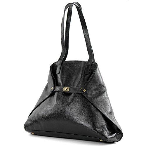 modamoda de - ital. Damentasche Handtasche Ledertasche Schultertasche Leder T115 Schwarz